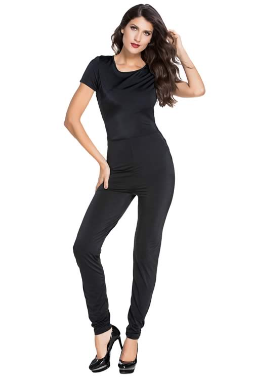 Short Sleeve Back Cutout Tight Fitting Jumpsuit in Black