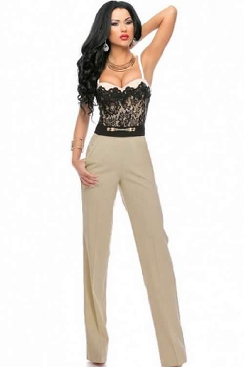 Sweetheart Spaghetti Strap Lace Top Trendy Jumpsuit