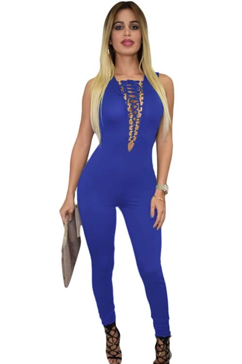 Royal Lace up Bust Deep V Neck Jumpsuit in Blue