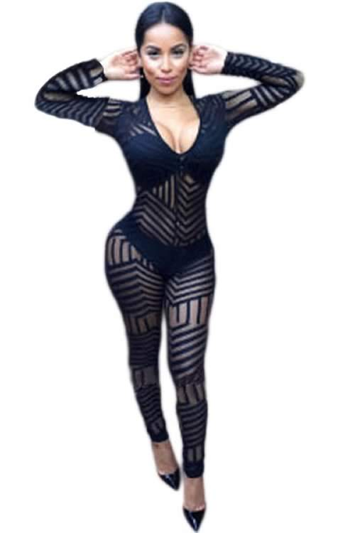 Body Glove Lace V Neck Long Sleeve Jumpsuit in Black