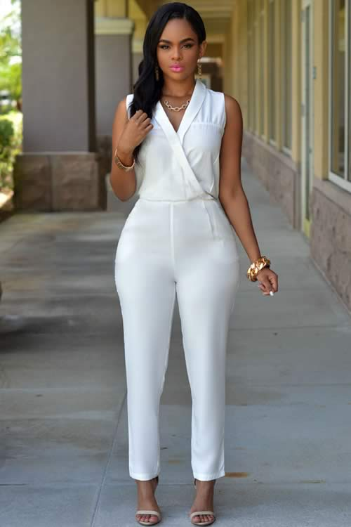 Luxury Womens Sleeveless Jumpsuit in White