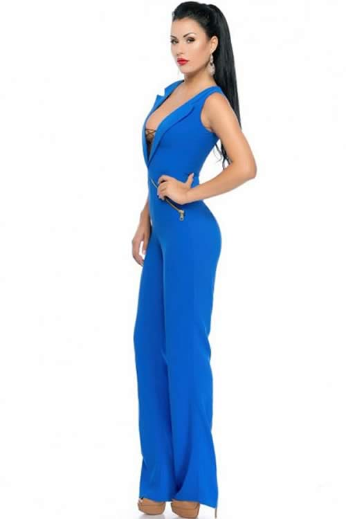 Royal Lace Up V Neck Sleeveless Jumpsuit in Blue
