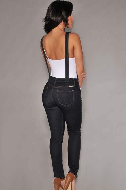 Wash Denim Fitted Overall Jumpsuit in Black
