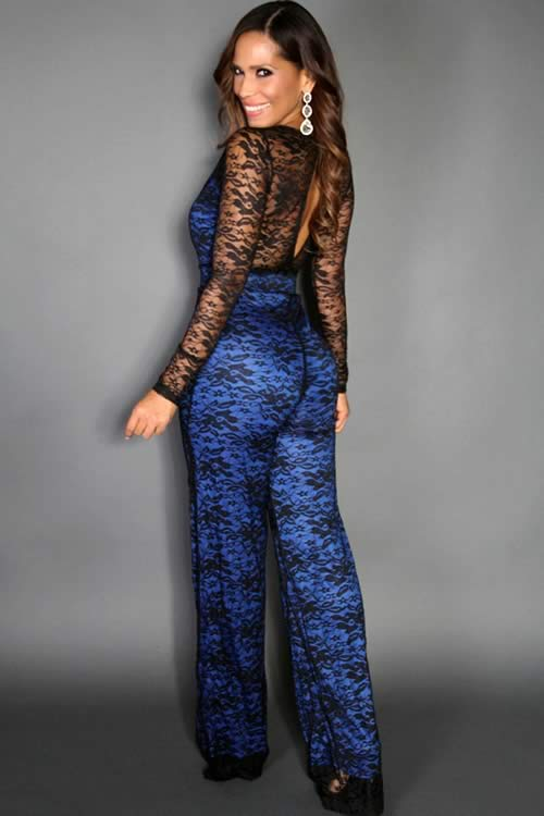 Lace Long Sleeve V Neck Wide Leg Jumpsuit in Blue