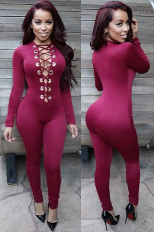 Long Sleeve Deep V Neck Lace Up Front Jumpsuit in Red