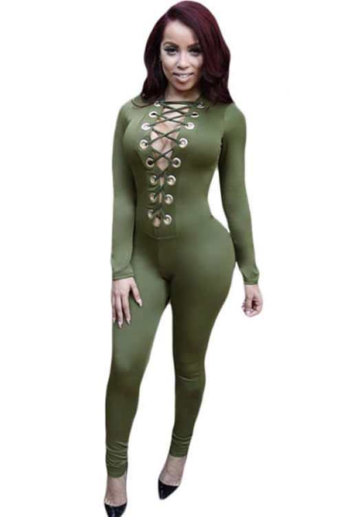 Long Sleeve Deep V Neck Lace Up Front Jumpsuit in Green