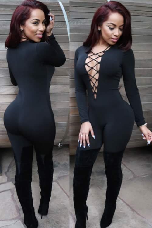 Deep V to Waist Lace Up Long Sleeve Jumpsuit in Black