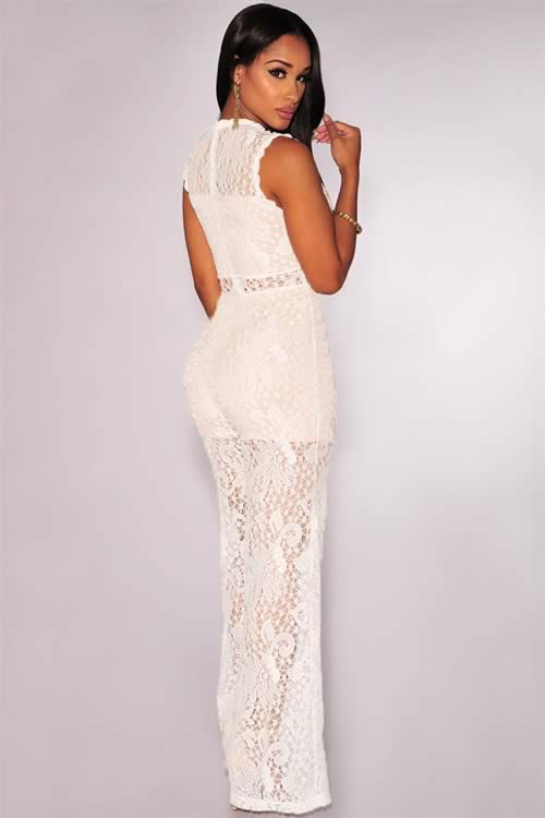 Womens Floral Lace Wide Leg Jumpsuit in White