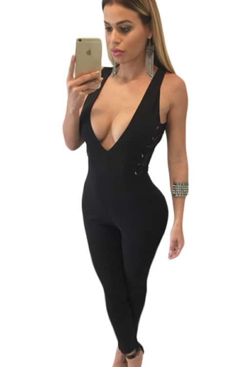 Sleeveles Deep V Neck Side Lace Up Jumpsuit in Black