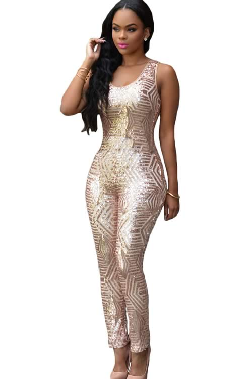 Shiny Womens Geometric Sequin Jumpsuit in White Gold