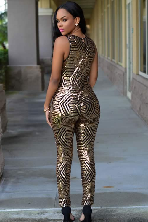 Shiny Womens Geometric Sequin Jumpsuit in Black Gold