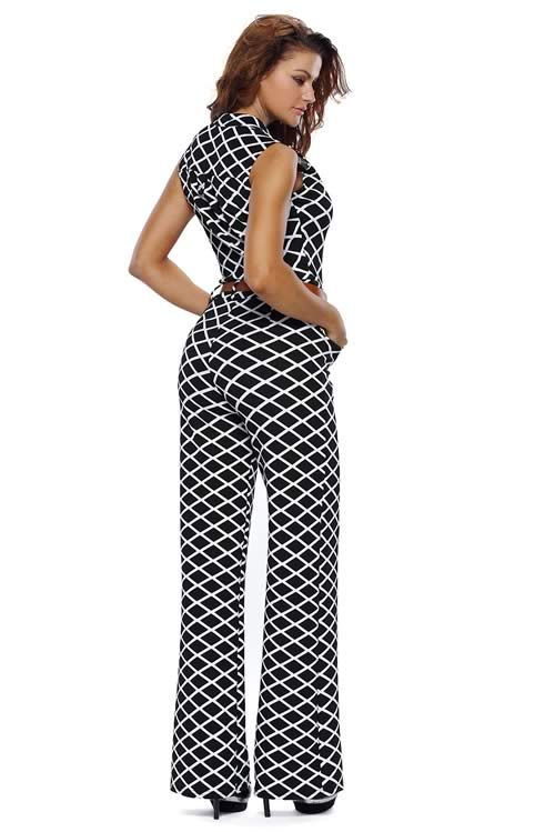 Lattice Printed Belted High Waisted Wide Leg Jumpsuit in Black