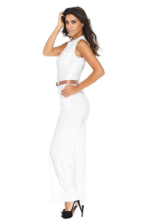Belted V Neck High Waisted Wide Leg Jumpsuit in White