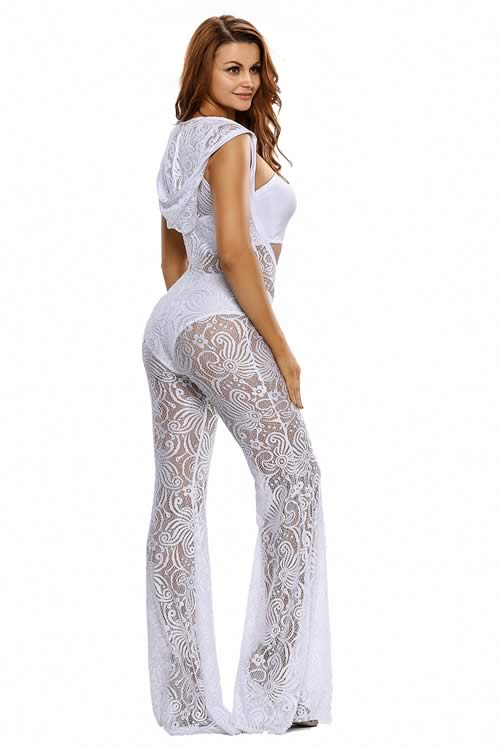 Womens Hooded Lace Wide Leg Jumpsuit in White