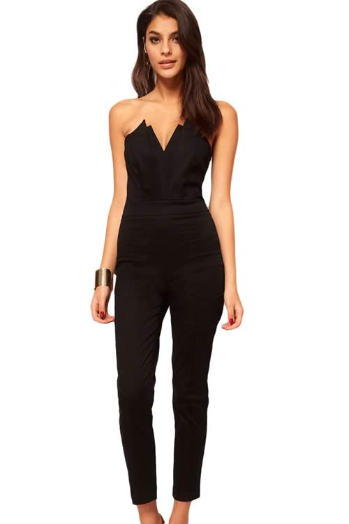 Pleated Bust Origami V Neck Off Shoulder Jumpsuit in Black