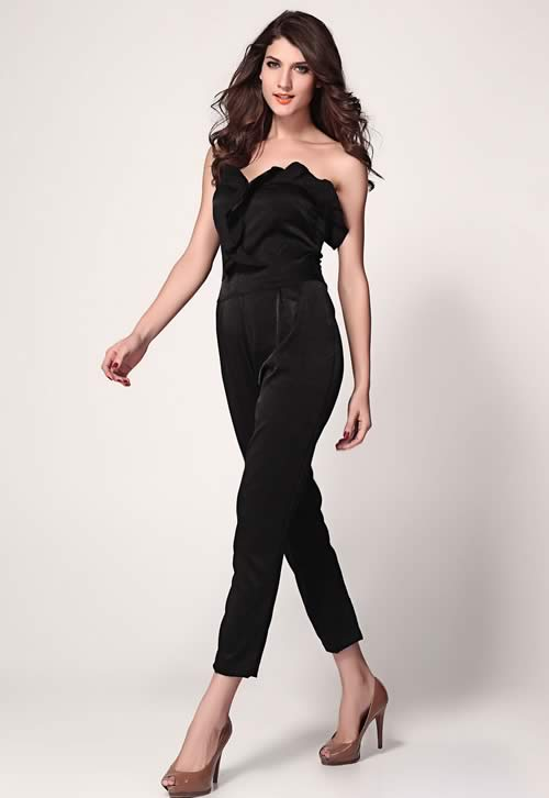 Strapless Frill Front Bandeau Jumpsuit in Black