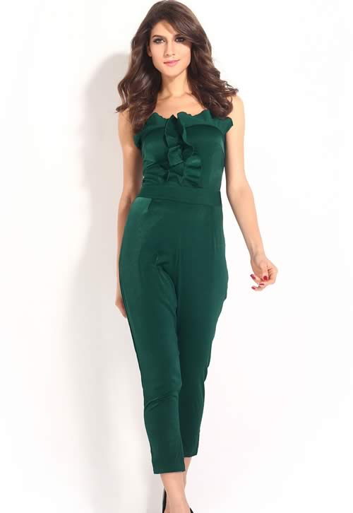 Strapless Frill Front Bandeau Jumpsuit in Green