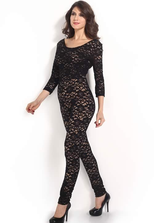 Lace 3/4 Sleeve Keyhole Back Jumpsuit in Black