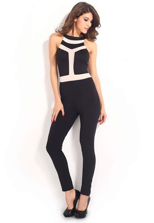 One Piece Slim Fit Sleeveless Club Jumpsuit in Black