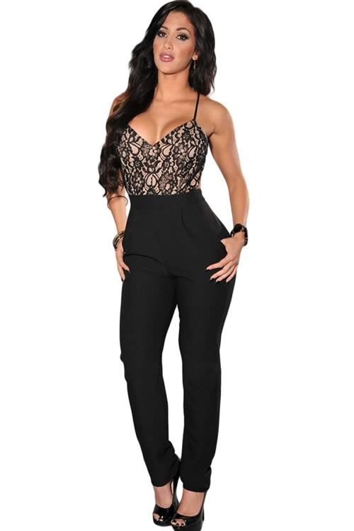 Lace Top Cross Strap Backless Party Jumpsuit in Black