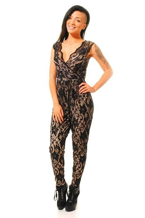 Sheer Floral Lace Sleeveless Jumpsuit in Black