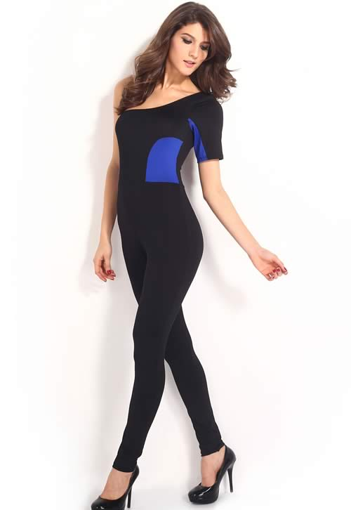 Stitching One Shoulder Half Sleeve Jumpsuit in Blue Black