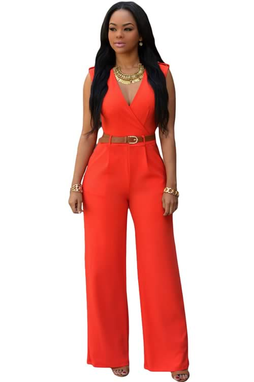 V Neck Sleeveless Belt Embellished Wide Leg Jumpsuit in Orange