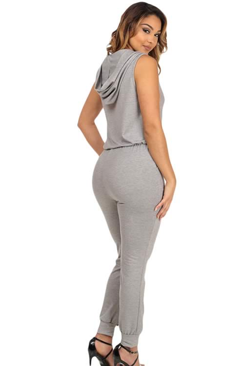 Sleeveless Knee Cutout Hooded Jumpsuit in Grey