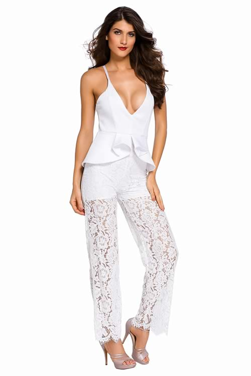 Spaghetti Strap Lace Low V Neck Peplum Jumpsuit in White