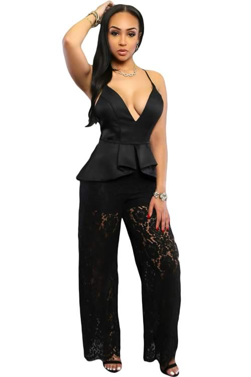 Spaghetti Strap Lace Low V Neck Peplum Jumpsuit in Black