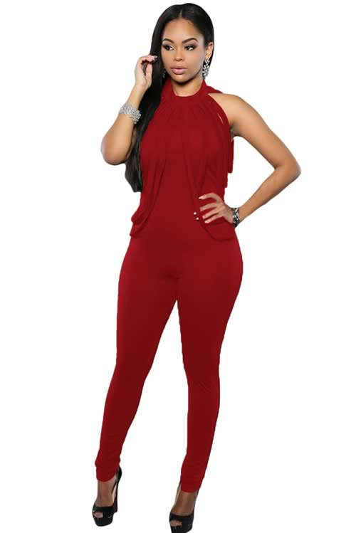 Sleeveless Draped Fringe Halter Neck Jumpsuit in Red