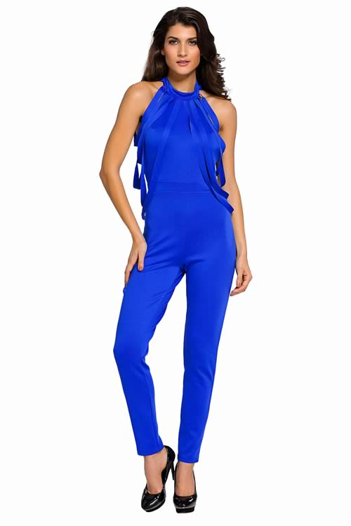 Sleeveless Draped Fringe Halter Neck Jumpsuit in Blue