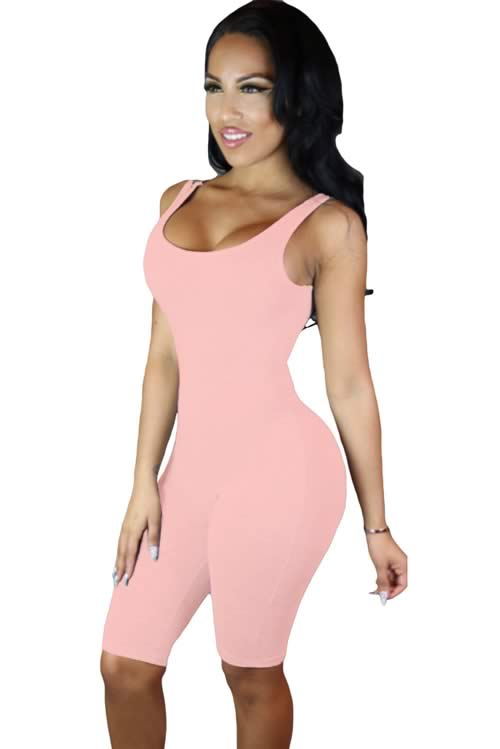 Womens Double Scoop Neck Sleeveless Jumpsuit in Pink