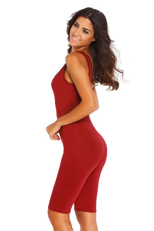 Womens Double Scoop Neck Sleeveless Jumpsuit in Red