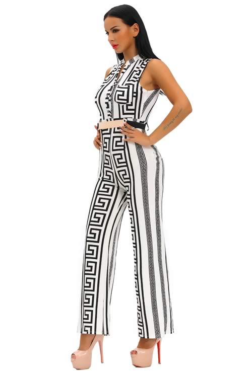 Pattern Printed Gold Belted Wide Leg Jumpsuit in White