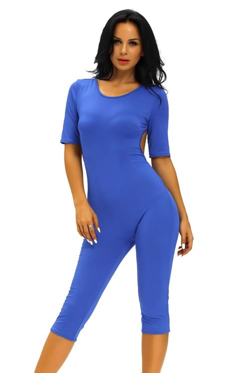 Short Sleeve Tie Back Cropped Jumpsuit in Blue