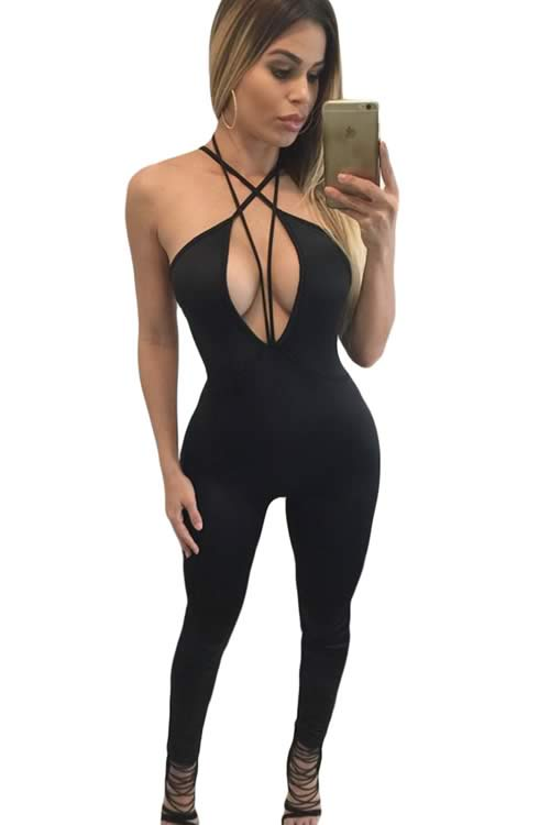 Sleeveless Plunging V Neck Strappy Jumpsuit in Black