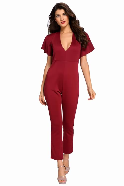 Frill Cape Sleeve V Neck Open Back Jumpsuit in Red
