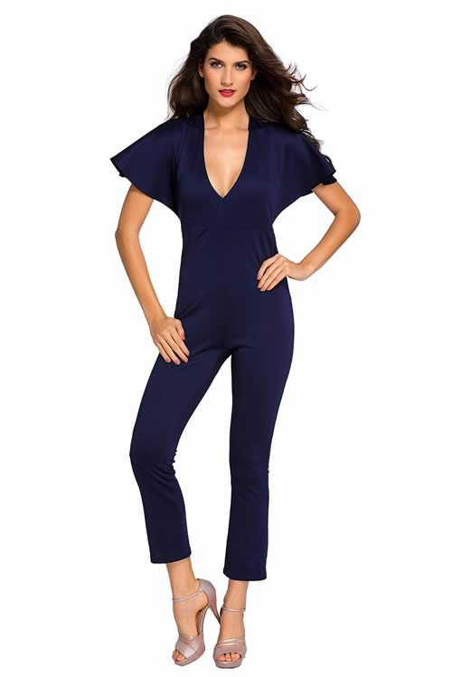 Frill Cape Sleeve V Neck Open Back Jumpsuit in Blue