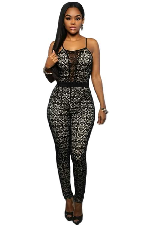 Sleeveless Lace Spaghetti Strap Keyhole Back Jumpsuit in Black