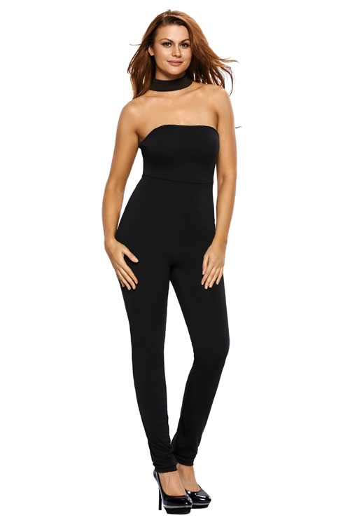 Strapless Choker Tapered Leg Jumpsuit in Black