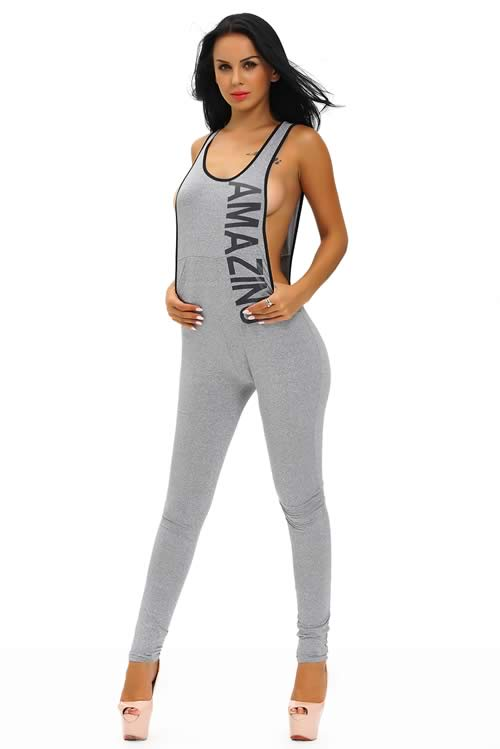 Plunging V Back Letter Printed Sleeveless Jumpsuit in Grey