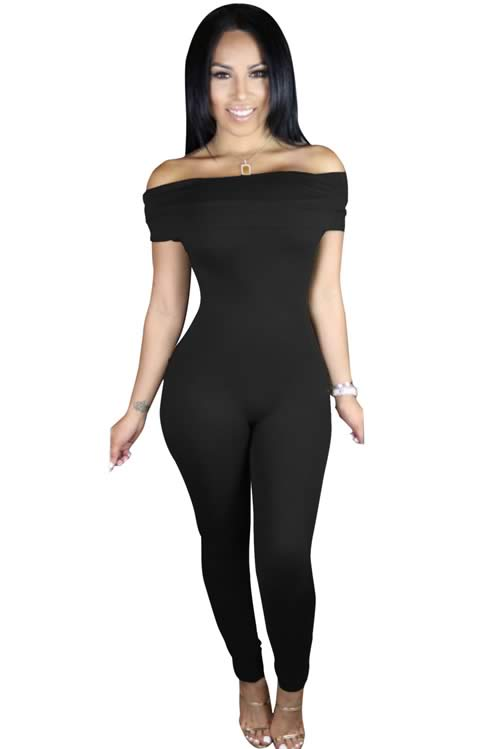 Short Sleeve Off Shoulder Tapered Leg Jumpsuit in Black