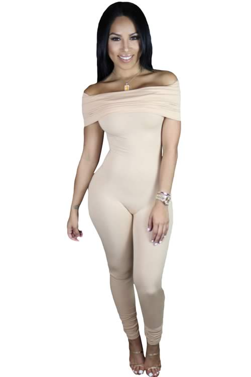 Short Sleeve Off Shoulder Tapered Leg Jumpsuit in Beige