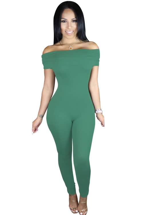 Short Sleeve Off Shoulder Tapered Leg Jumpsuit in Green