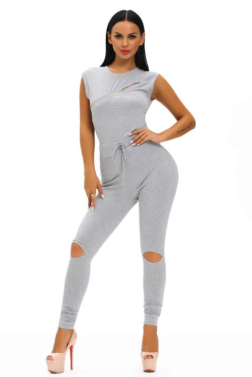 Zip Line Sleeveless High Neck Stretch Jumpsuit in Grey