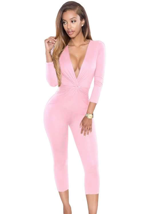 Knotted Plunging V Neck Long Sleeve Jumpsuit in Pink