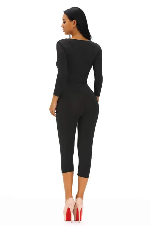 Knotted Plunging V Neck Long Sleeve Jumpsuit in Black