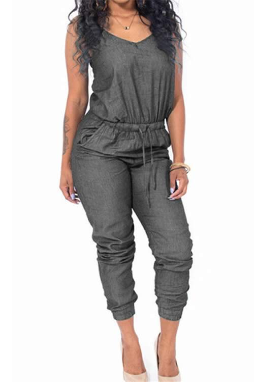 Womens Sleeveless Adjustable Waist Denim Jumpsuit in Black