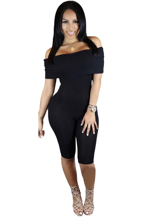 Knee Length Off Shoulder Ribbed Jumpsuit in Black